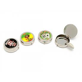 Попільничка кишенькова з малюнком метал (d-5 h-1.5 см)
