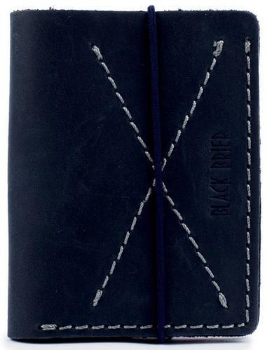 Мужской тонкий качественный кожаный бумажник на резинке Black Brier П-10-97 темно-синий