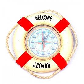 """Годинник """"Рятувальний круг"""" червоний (d-20 см)"""