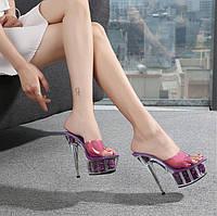 Сексуальные прозрачные тапочки с кристаллами, водонепроницаемые туфли на платформе, шлепанцы на очень высоком каблуке 15 см, женские сандалии для, фото 1