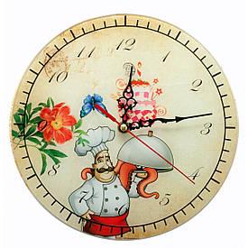 """Годинники настінні """"Кухар"""" скло (d-25 см)(тихий хід)"""