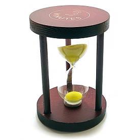 Годинник пісочний 3 хв жовтий пісок(7х7х10см)