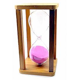 Годинник пісочний бамбукові 60 хв рожевий пісок (19х10х10 см)
