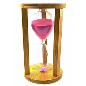 Годинник пісочний бамбукові 60 хв рожевий пісок (19х11х11 см)