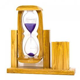 Годинник пісочний з підставкою для ручок (14,5х14,5х4,5 см)
