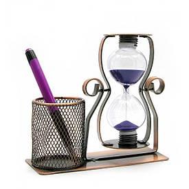 Годинник пісочний з підставкою для ручок (16х17х8 см)