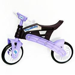 Беговел детский 2-х колесный от 2-х лет Real Baby коричнево-фиолетовый, пластиковый с нагрузкой до 35 кг
