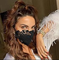 Ажурная, кружевная маска на лицо, на рот. Черная защитная многоразовая женская маска на рот.