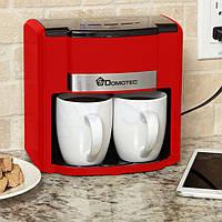 Электрокофеварка капельная с чашками Domotec MS-0705 500 Вт + 2 керамические чашки Красная