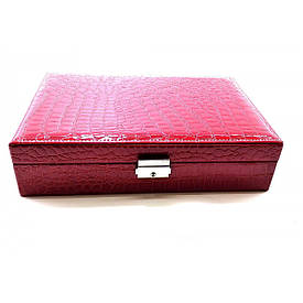 Шкатулка для бижутерии бордовая  (27,5х19х7 см)