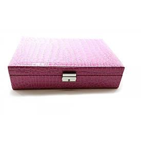 Шкатулка для бижутерии розовая  (27,5х19х7 см)