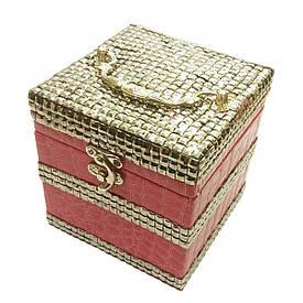 Шкатулка для бижутерии розовая (12,5х12,5х12,5 см)