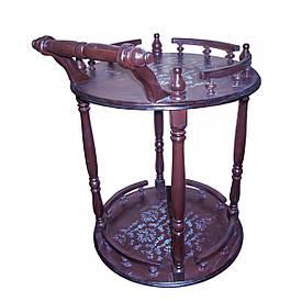 """Круглий стіл сервірувальний """"Коричневий"""" (77х60х55 см) масив дерева"""