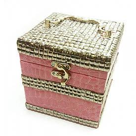 Шкатулка для бижутерии светло розовая (12,5х12,5х12,5 см)