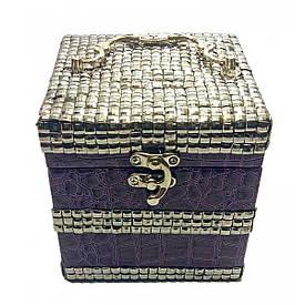 Шкатулка для бижутерии фиолетовая (12,5х12,5х12,5 см)