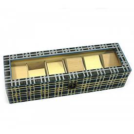"""Скринька для годин на 6 шт """"Клітка"""", масив дерева (34,5х11х8,5 см)"""