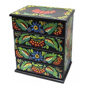 """Скринька комод """"Квіти з калиною """",чорна, розписано вручну масив дерева (22,5х15х26 см)"""