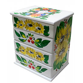"""Скринька комод,""""Українка з соняшниками"""", біла, розписано вручну, масив дерева (22,5х15х26 см)"""