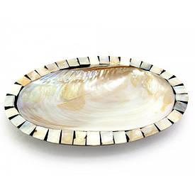 Блюдо черепашка з кориці зі смолою і перламутру коричневе (23,5х15,5х3 см)