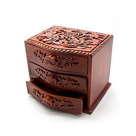 Скриня різьблена 3 відділення (17,5х14,5х13,5 см)(В'єтнам)