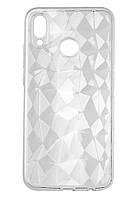 Силиконовый чехол Ромбы 3D Diamond для Huawei P20 Lite, Прозрачный