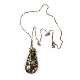 """Аромакулон бронзовий з камінням """"Лист"""" (6х3х2 см)"""