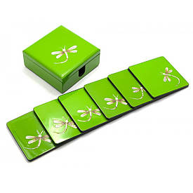 Скринька з підстаканниками набір 6 шт(11х11х4,5 см)(В'єтнам)