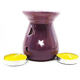 Аромалампа керамическая ,подарочный набор пурпурная (12,5х8х7см)