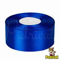 Лента атласная синяя 4 см длина 10 м