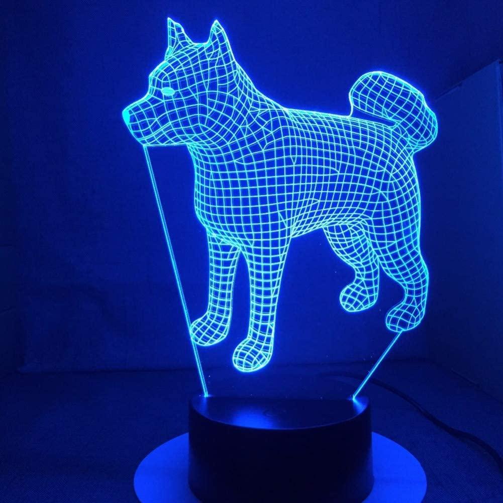 """Светильник-ночник 3D Лампа """"Японская собака Акита"""" 7 цветов + пульт"""
