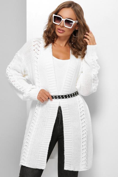 Модный вязаный кардиган в стиле оверсайз белый 44-52