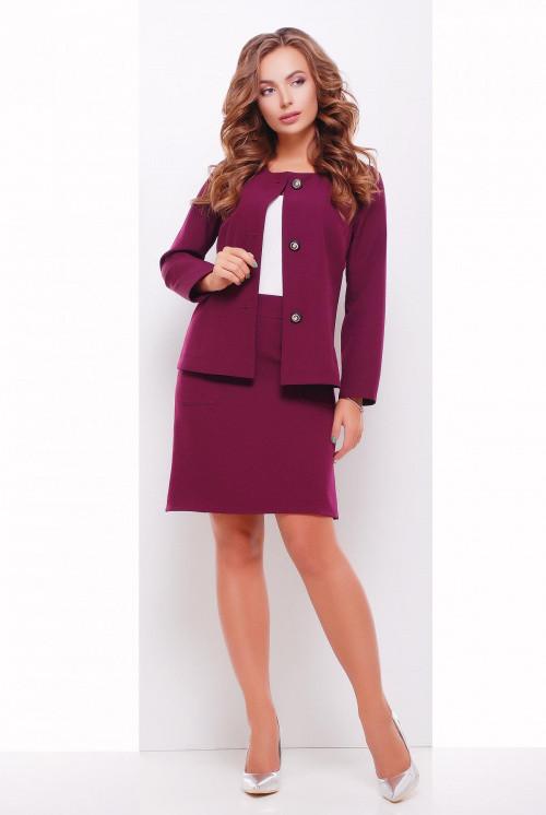 Женский пиджак без подкладки на 3-х красивых пуговицах баклажановый 50 р