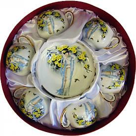 """Сервіз круглий фарфор (110 мл)(6SCS173) 6 чашок+ 6 блюдець """"Китаянка"""" (h-5,5 см, d-5см,d блюдця 11 см)"""