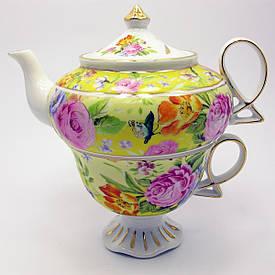 """Сервіз фарфор (3TA1073-4) 1 чайник + 1 чашка """"Квіти на жовтому тлі"""" (200/400 мл чашка/чайник)"""