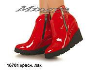 Женские ботинки красный лак на цигейке (размеры 36-40)