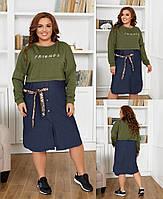 Женское платье,ткань  верх - двунитка, основа джинс, декоративная лента и накатка на груди (50-58), фото 1