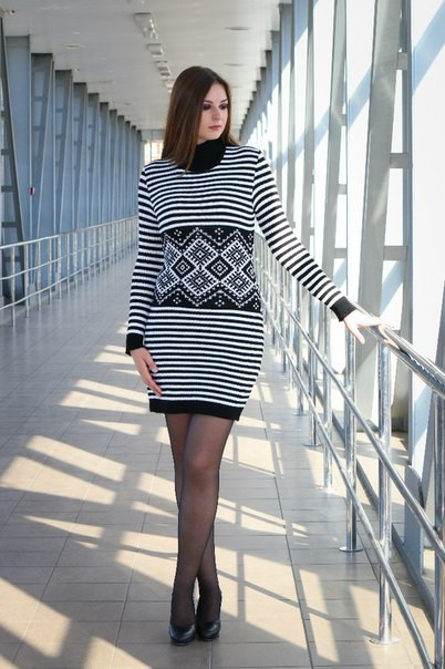 Женское платье машинная вязка - Полоска
