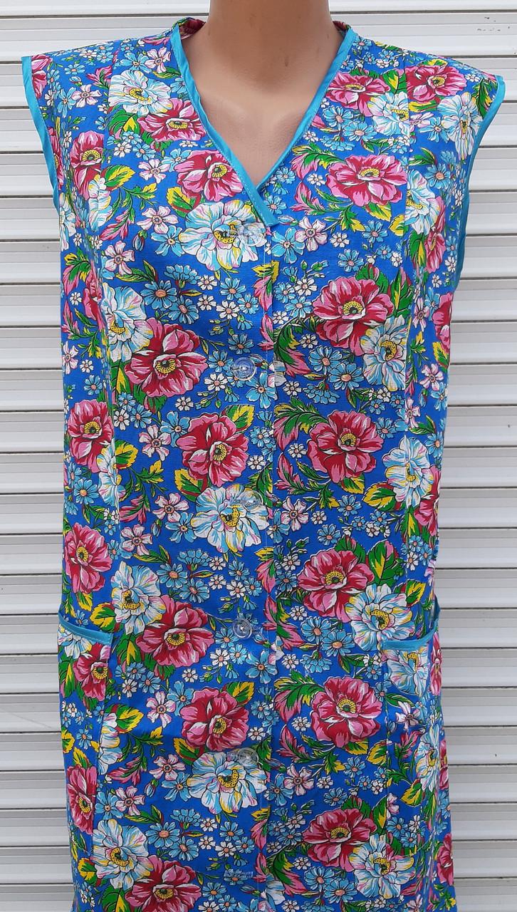 Летний халат без рукава 60 размер Цветы