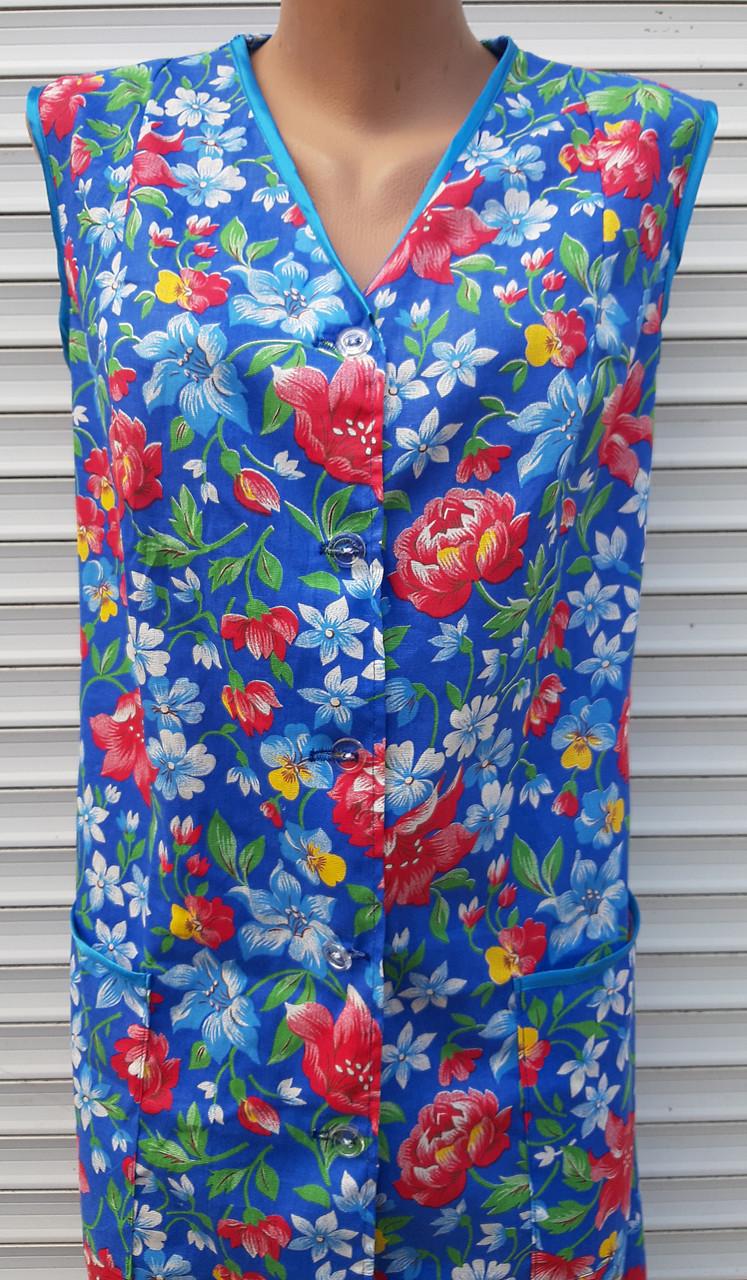 Летний халат без рукава 60 размер Анютки на синем