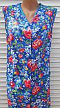 Летний халат без рукава 60 размер Анютки на синем, фото 5
