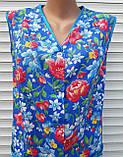 Летний халат без рукава 60 размер Анютки на синем, фото 8