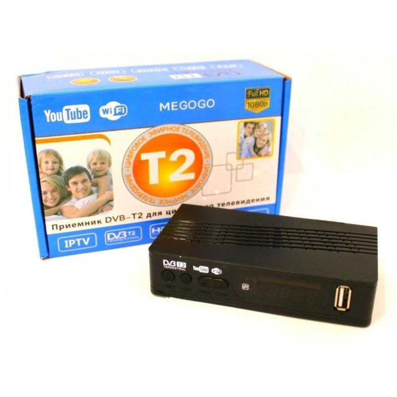 Цифровой ТВ тюнер MEGOGO DVB металлический корпус T2 ресивер с IPTV, USB