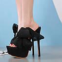 Європейський та американський чорний атласний бантик зі стразами на високому каблуці 17 см, водонепроникні туфлі на високому каблуці, сандалі і, фото 3