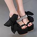 Європейський та американський чорний атласний бантик зі стразами на високому каблуці 17 см, водонепроникні туфлі на високому каблуці, сандалі і, фото 4