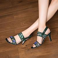 Новинка 2020 года, летние кожаные сандалии Cheongsam на высоком каблуке с вышивкой и открытым носком, с пряжкой на шпильке, в китайском стиле, с, фото 1