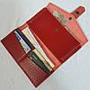 Портмоне на кнопке  натуральная кожа, красная глянец, фото 4