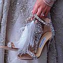 Банкетные туфли невесты со стразами и перьями, летние сандалии жемчугом, туфли на высоком каблуке с жемчугом, фото 2