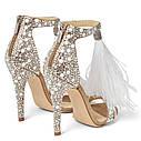 Банкетные туфли невесты со стразами и перьями, летние сандалии жемчугом, туфли на высоком каблуке с жемчугом, фото 4