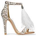 Банкетные туфли невесты со стразами и перьями, летние сандалии жемчугом, туфли на высоком каблуке с жемчугом, фото 5