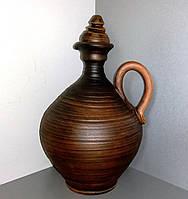 Бутыль-штоф глиняный 1л, с ручкой